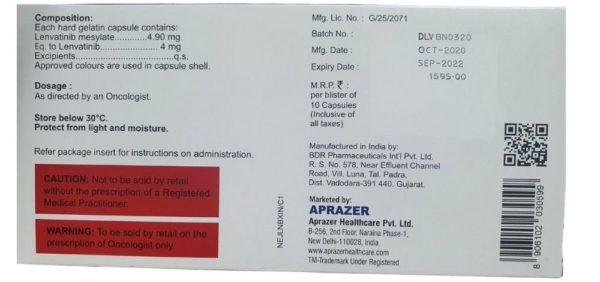 Lenvakast-4, 30 capsules, Ленватиниб 4 мг | APRAZER